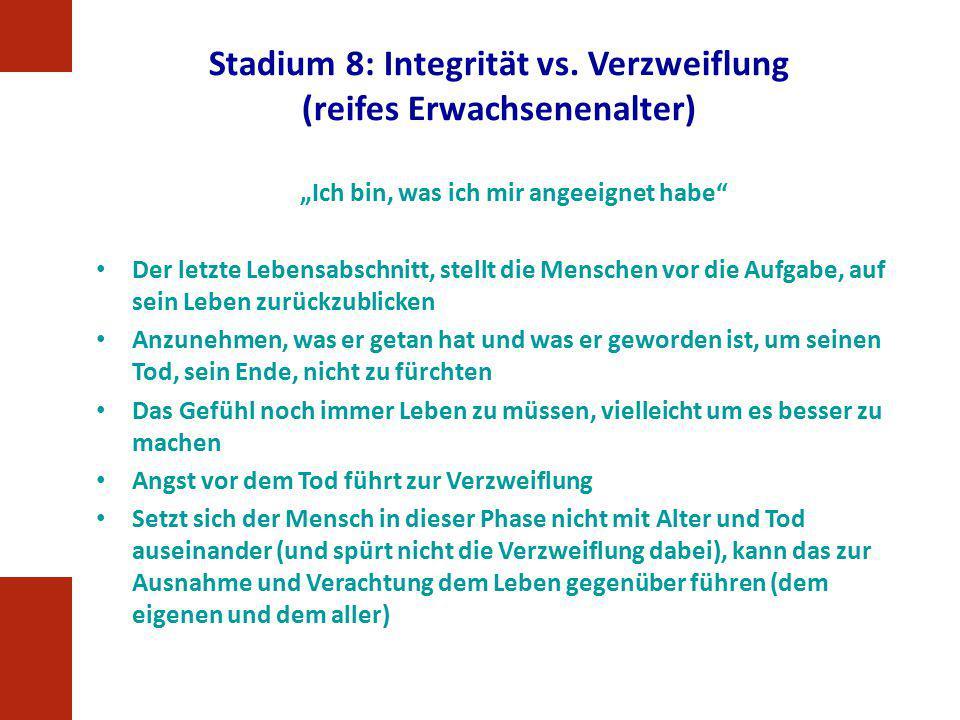 Stadium 8: Integrität vs. Verzweiflung (reifes Erwachsenenalter)