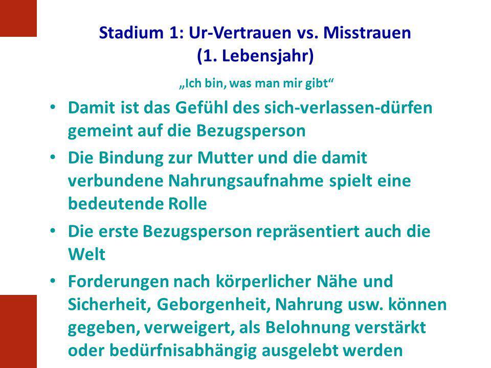 Stadium 1: Ur-Vertrauen vs. Misstrauen (1. Lebensjahr)