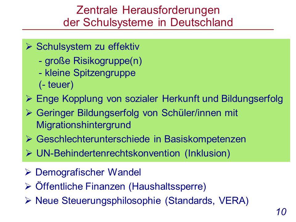 Zentrale Herausforderungen der Schulsysteme in Deutschland