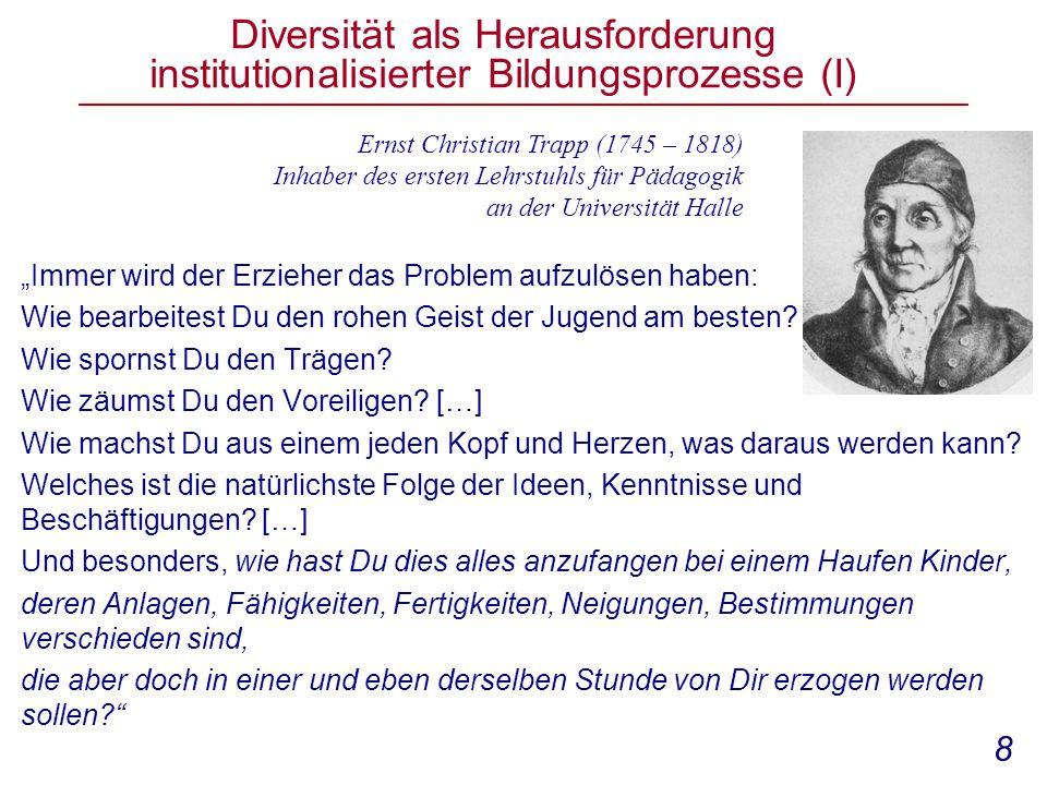 Diversität als Herausforderung institutionalisierter Bildungsprozesse (I)