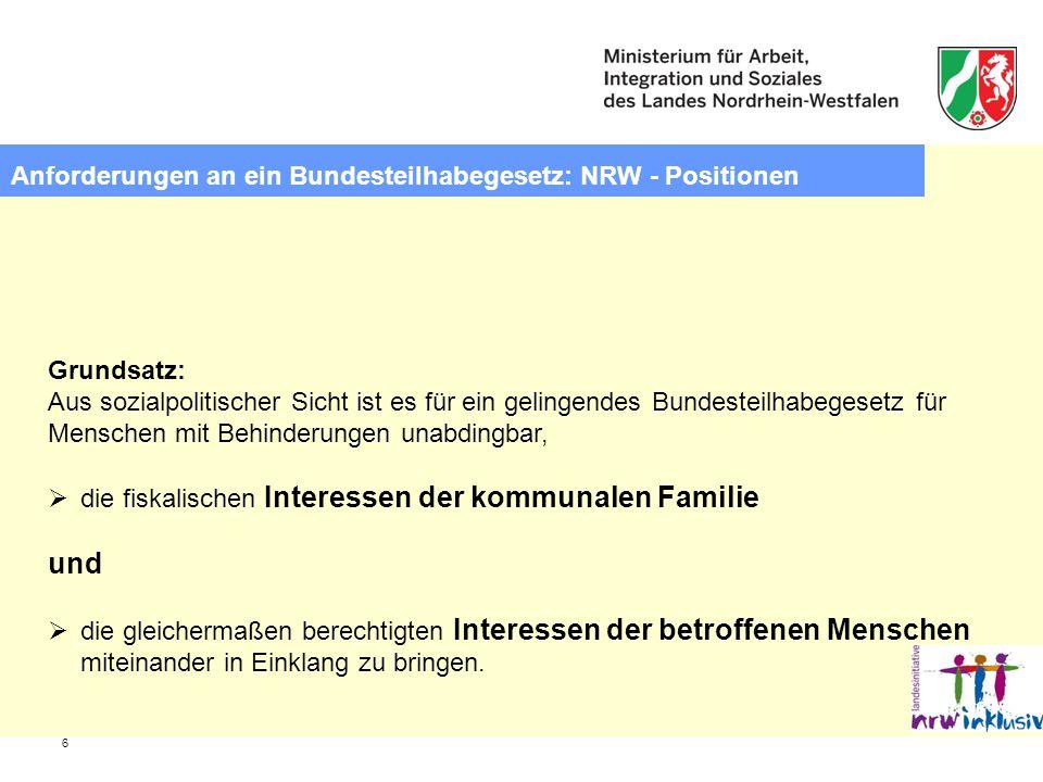 und Anforderungen an ein Bundesteilhabegesetz: NRW - Positionen