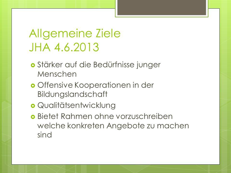 Allgemeine Ziele JHA 4.6.2013 Stärker auf die Bedürfnisse junger Menschen. Offensive Kooperationen in der Bildungslandschaft.