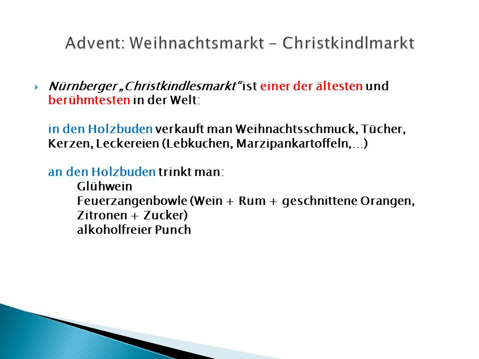 Advent: Weihnachtsmarkt - Christkindlmarkt
