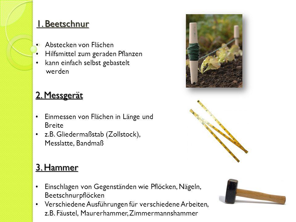 1. Beetschnur 2. Messgerät 3. Hammer Abstecken von Flächen