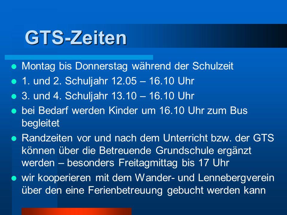 GTS-Zeiten Montag bis Donnerstag während der Schulzeit