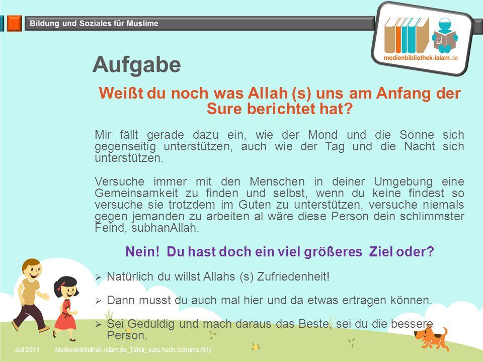Aufgabe Weißt du noch was Allah (s) uns am Anfang der Sure berichtet hat