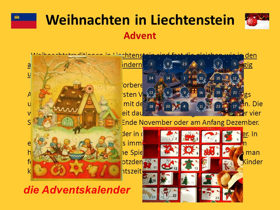 Weihnachten in Liechtenstein Advent