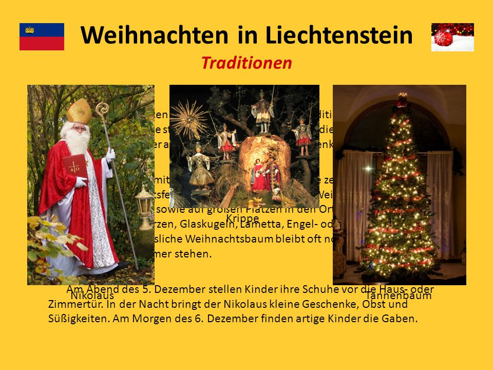 Weihnachten in Liechtenstein Traditionen