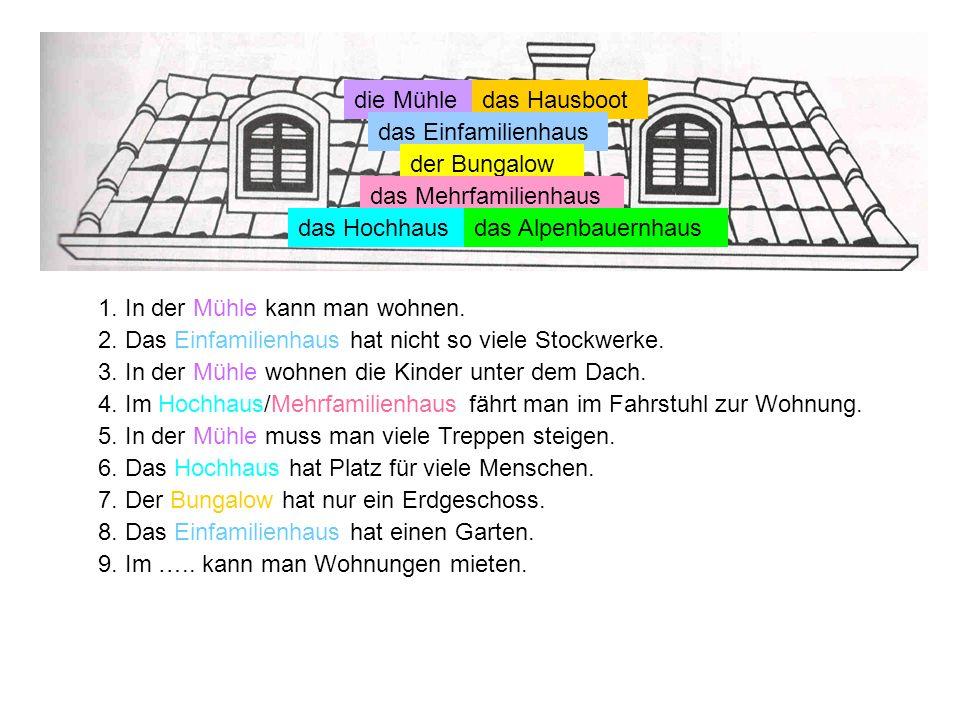 die Mühle das Hausboot. das Einfamilienhaus. der Bungalow. das Mehrfamilienhaus. das Hochhaus. das Alpenbauernhaus.