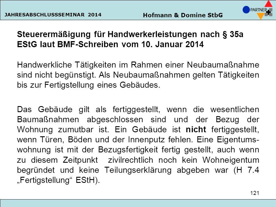 Steuerermäßigung für Handwerkerleistungen nach § 35a EStG laut BMF-Schreiben vom 10.