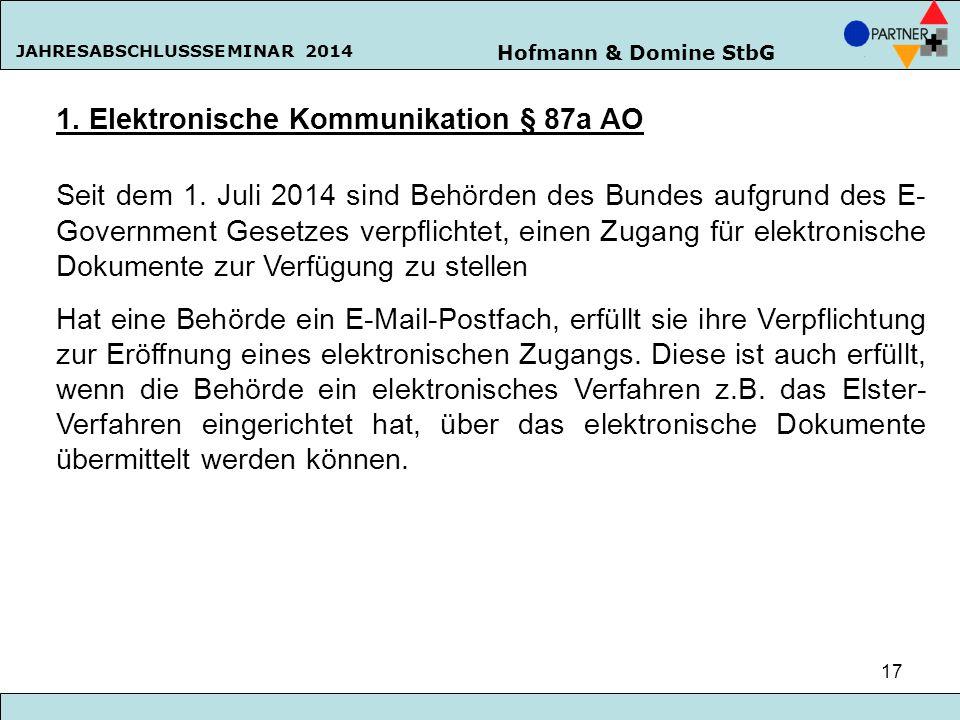 1. Elektronische Kommunikation § 87a AO