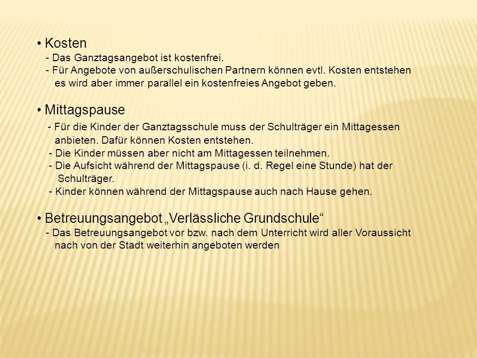 """Betreuungsangebot """"Verlässliche Grundschule"""
