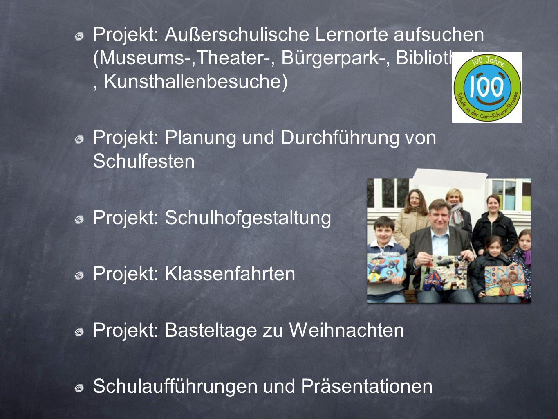 Projekt: Außerschulische Lernorte aufsuchen (Museums-,Theater-, Bürgerpark-, Bibliotheks- , Kunsthallenbesuche)