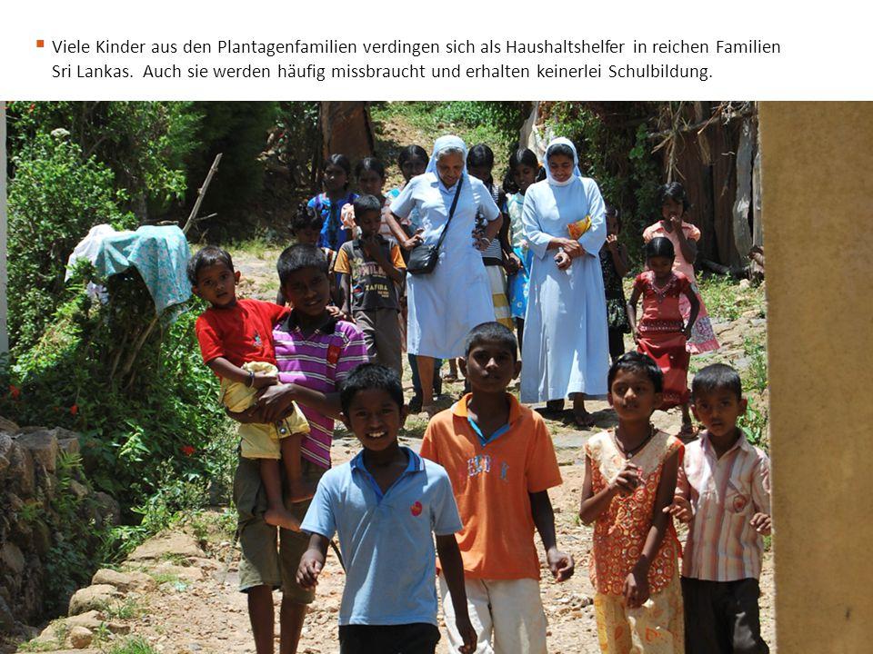 Viele Kinder aus den Plantagenfamilien verdingen sich als Haushaltshelfer in reichen Familien Sri Lankas.