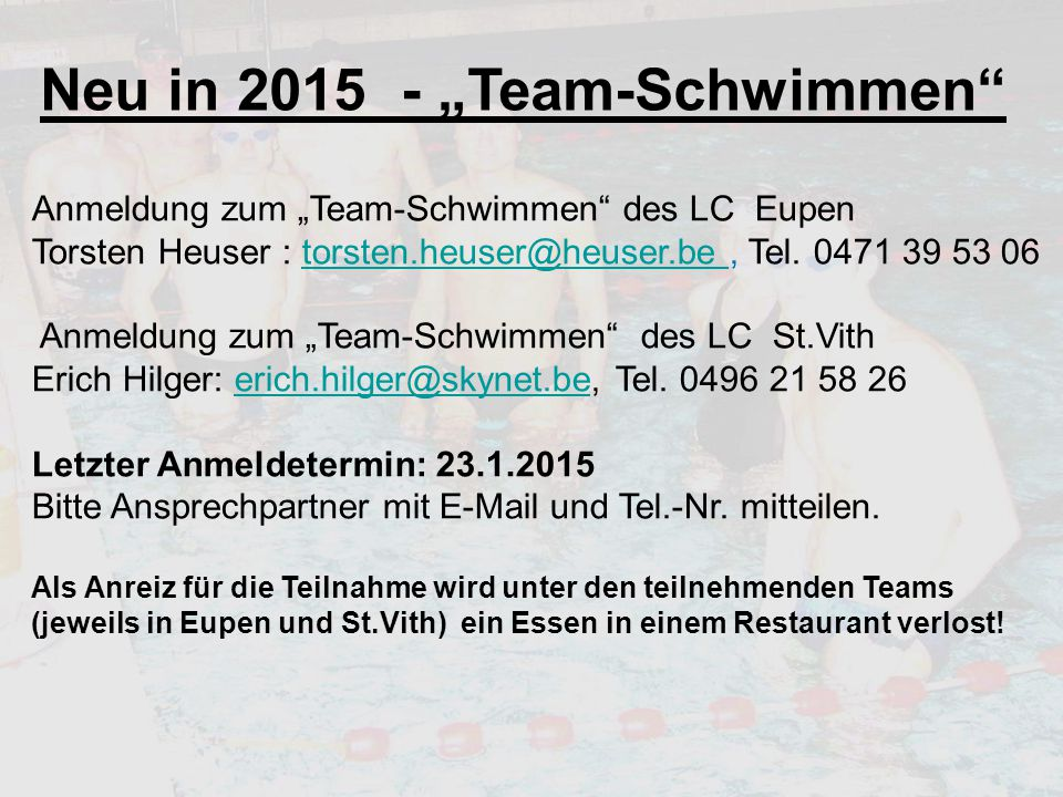 """Neu in 2015 - """"Team-Schwimmen"""