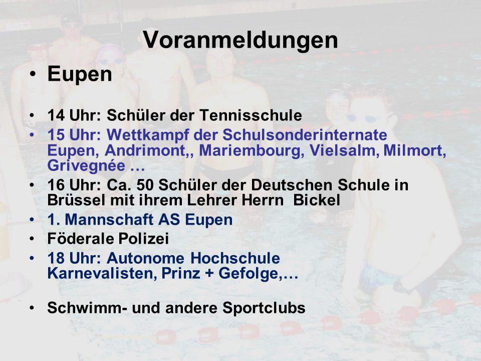 Voranmeldungen Eupen 14 Uhr: Schüler der Tennisschule