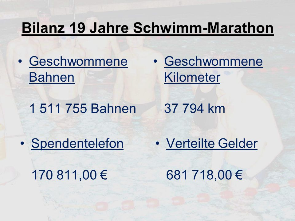 Bilanz 19 Jahre Schwimm-Marathon