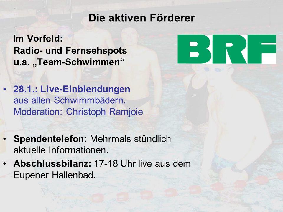 """Im Vorfeld: Radio- und Fernsehspots u.a. """"Team-Schwimmen"""
