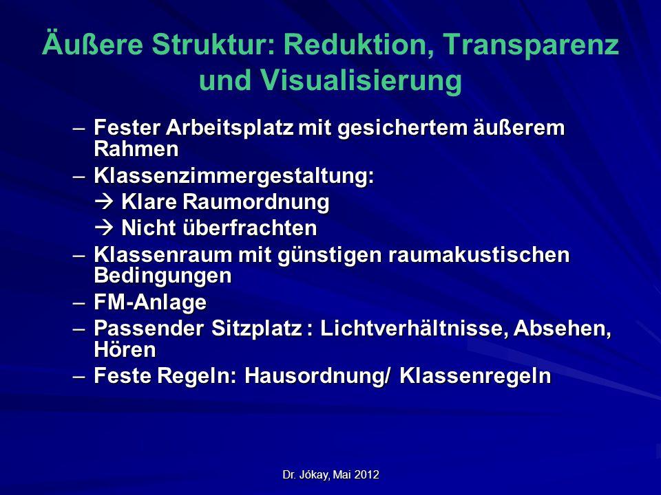 Äußere Struktur: Reduktion, Transparenz und Visualisierung