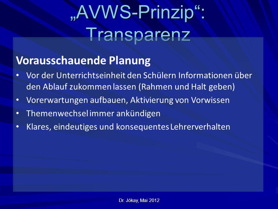 """""""AVWS-Prinzip : Transparenz"""