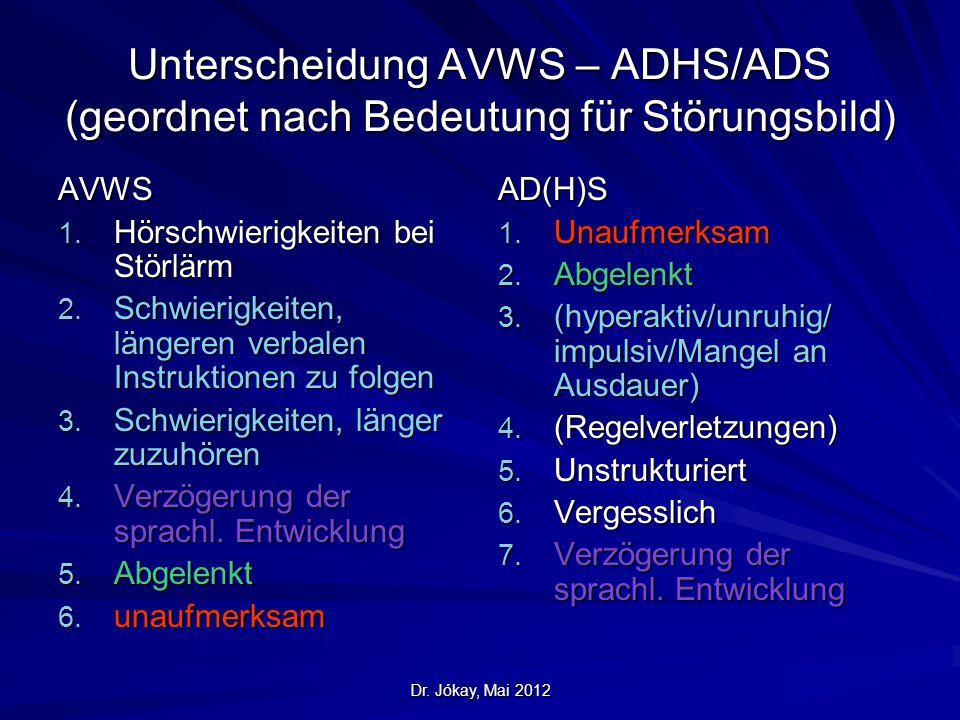 Unterscheidung AVWS – ADHS/ADS (geordnet nach Bedeutung für Störungsbild)