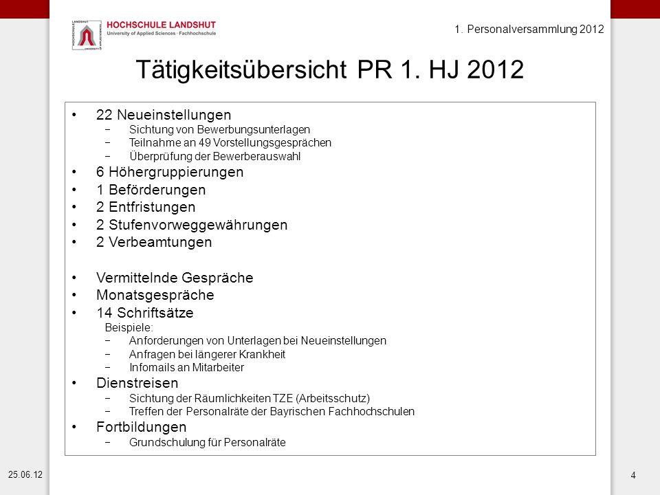 Tätigkeitsübersicht PR 1. HJ 2012