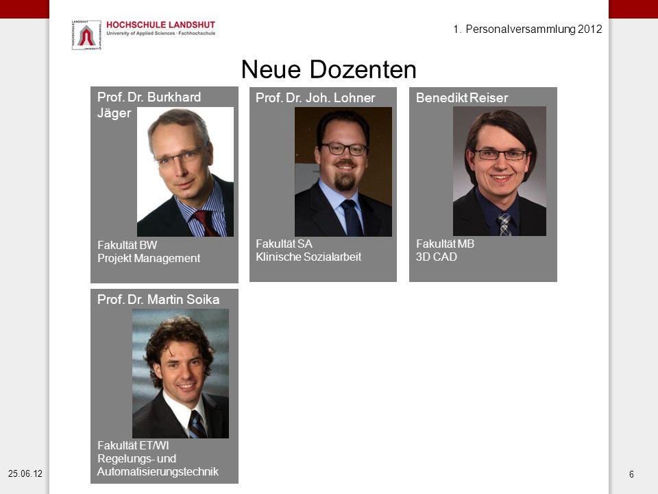 Neue Dozenten Prof. Dr. Burkhard Jäger Prof. Dr. Joh. Lohner