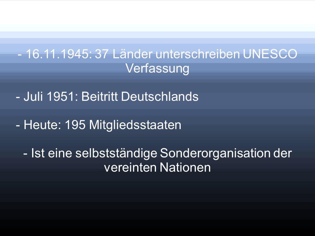 - 16.11.1945: 37 Länder unterschreiben UNESCO Verfassung
