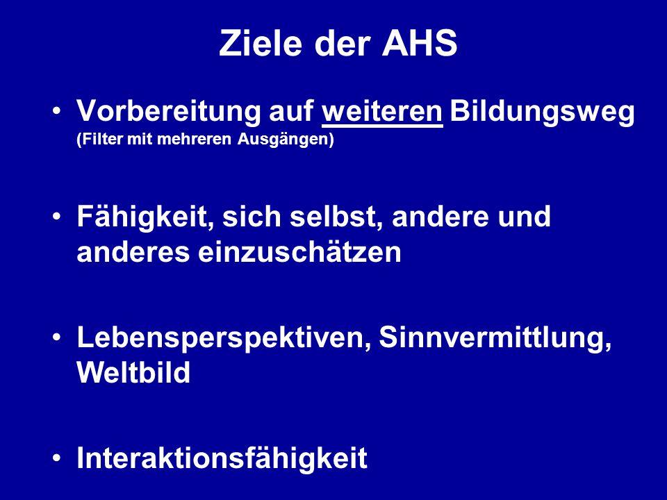 Ziele der AHS Vorbereitung auf weiteren Bildungsweg (Filter mit mehreren Ausgängen) Fähigkeit, sich selbst, andere und anderes einzuschätzen.