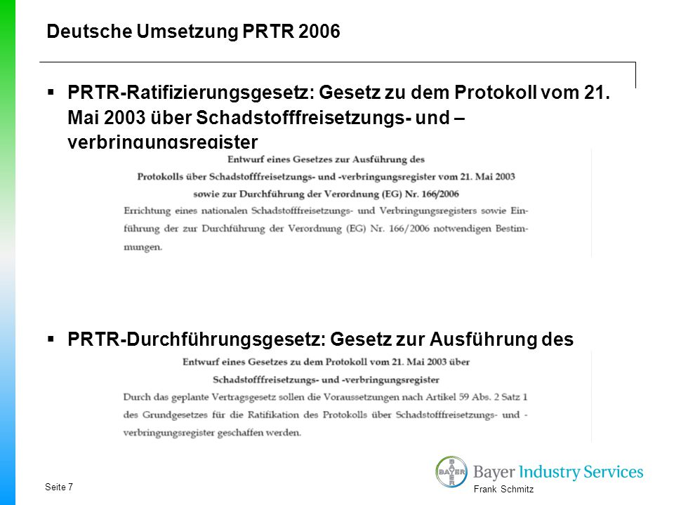 Deutsche Umsetzung PRTR 2006
