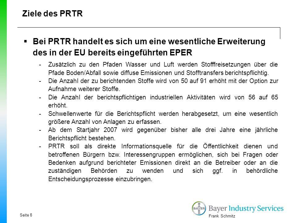 Ziele des PRTR Bei PRTR handelt es sich um eine wesentliche Erweiterung des in der EU bereits eingeführten EPER.