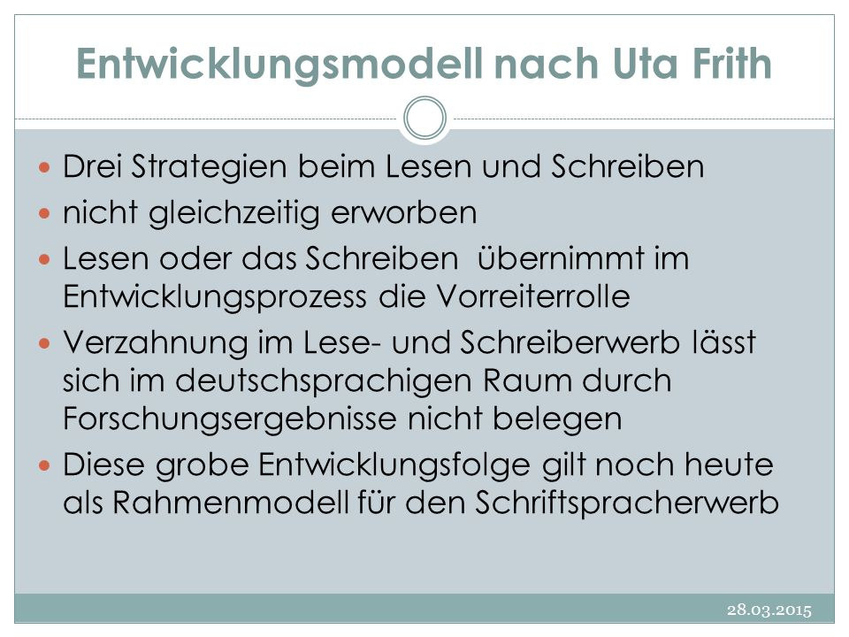 Entwicklungsmodell nach Uta Frith