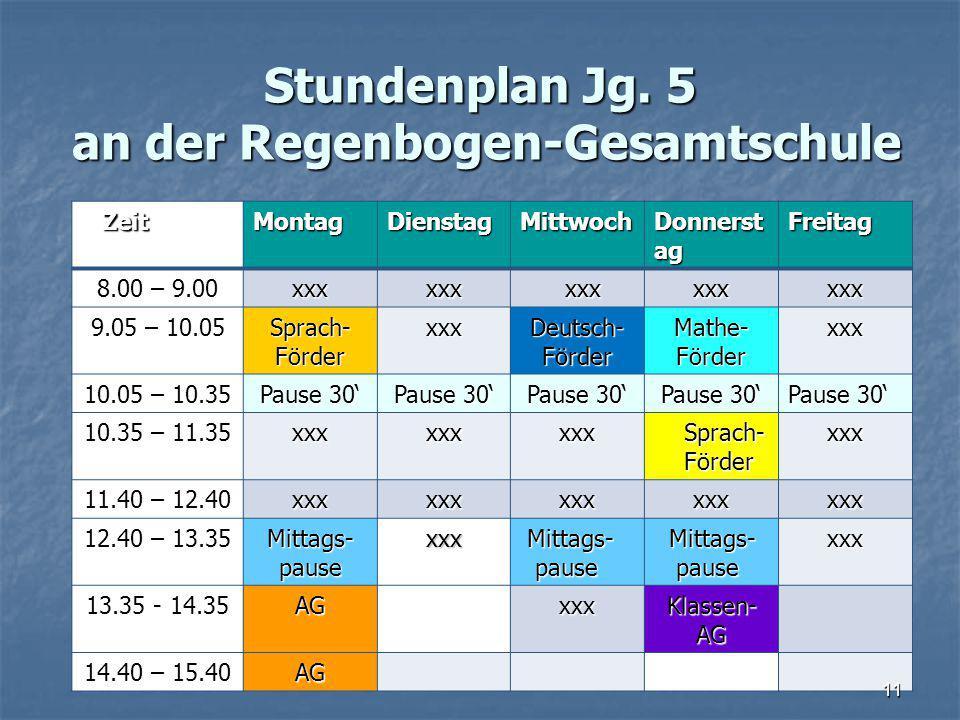 Stundenplan Jg. 5 an der Regenbogen-Gesamtschule