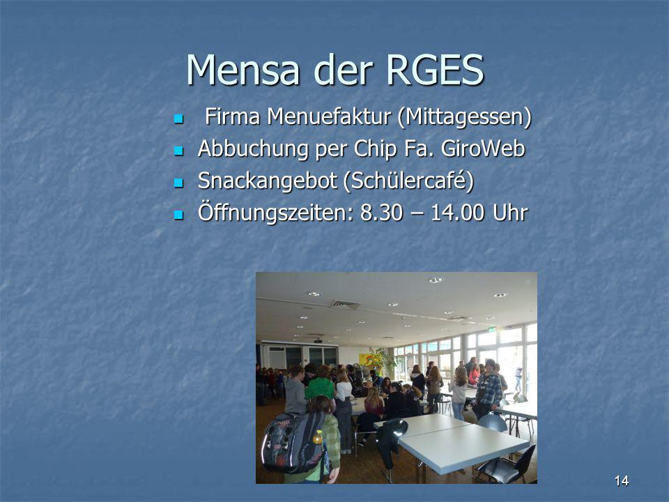 Mensa der RGES Firma Menuefaktur (Mittagessen)