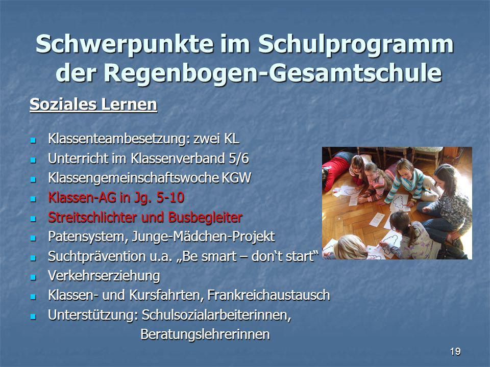 Schwerpunkte im Schulprogramm der Regenbogen-Gesamtschule