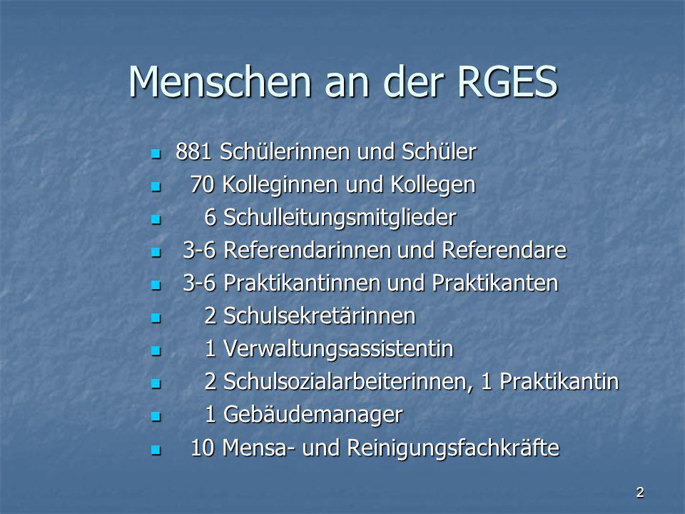 Menschen an der RGES 881 Schülerinnen und Schüler