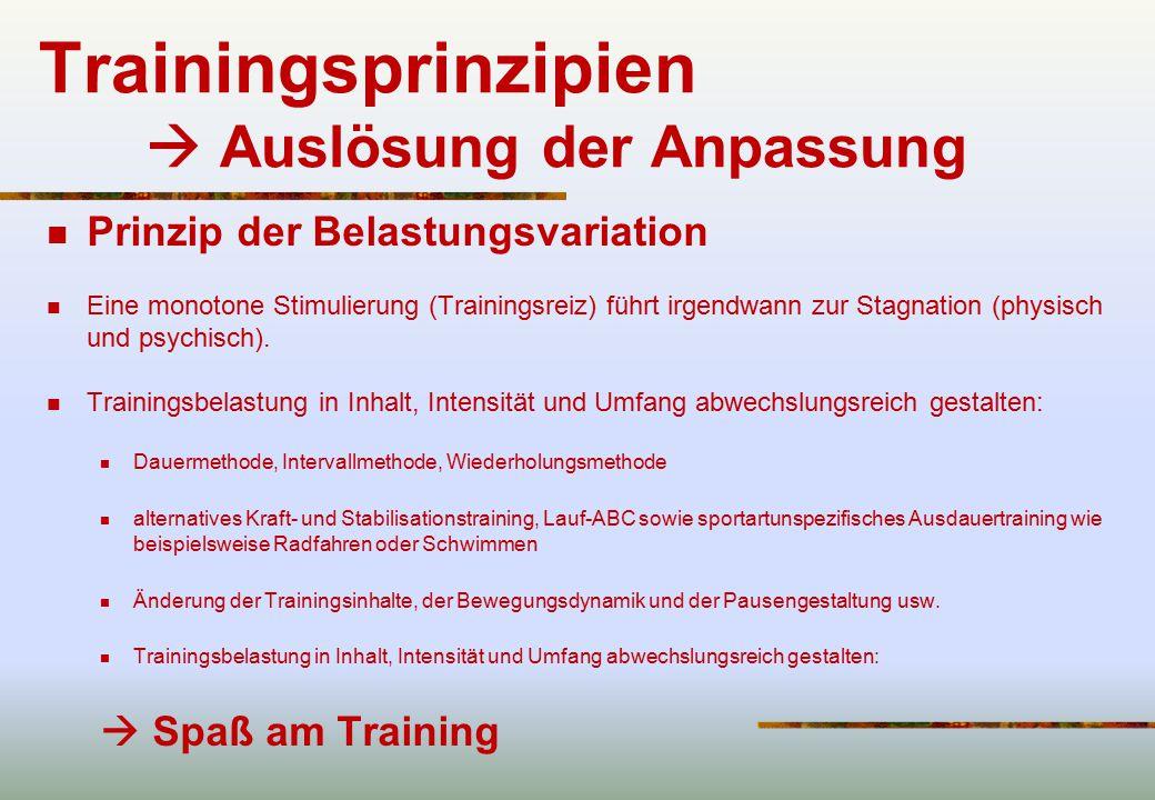 Trainingsprinzipien  Auslösung der Anpassung
