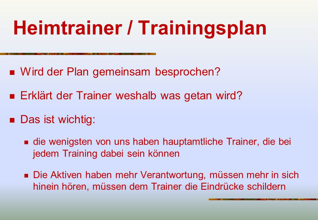 Heimtrainer / Trainingsplan