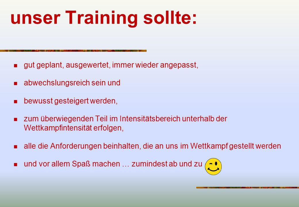unser Training sollte: