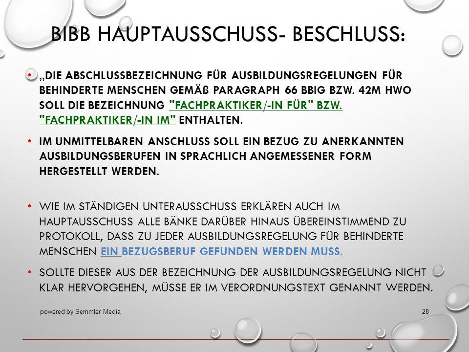 BIBB Hauptausschuss- Beschluss: