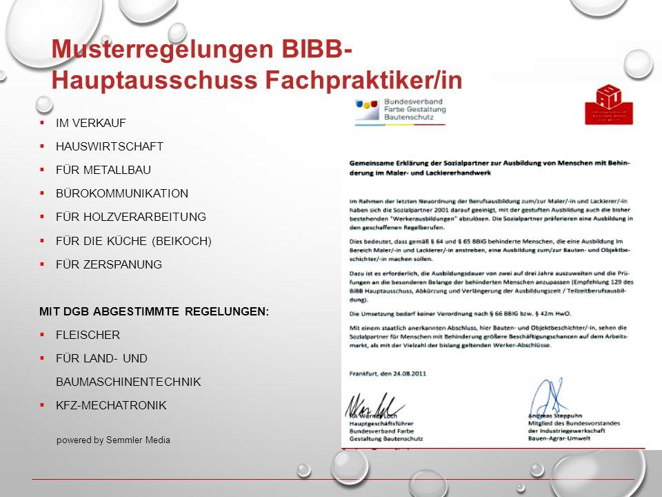 Musterregelungen BIBB- Hauptausschuss Fachpraktiker/in