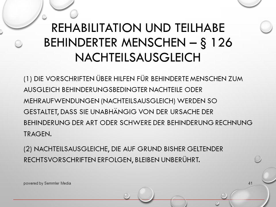 Rehabilitation und Teilhabe behinderter Menschen – § 126 Nachteilsausgleich