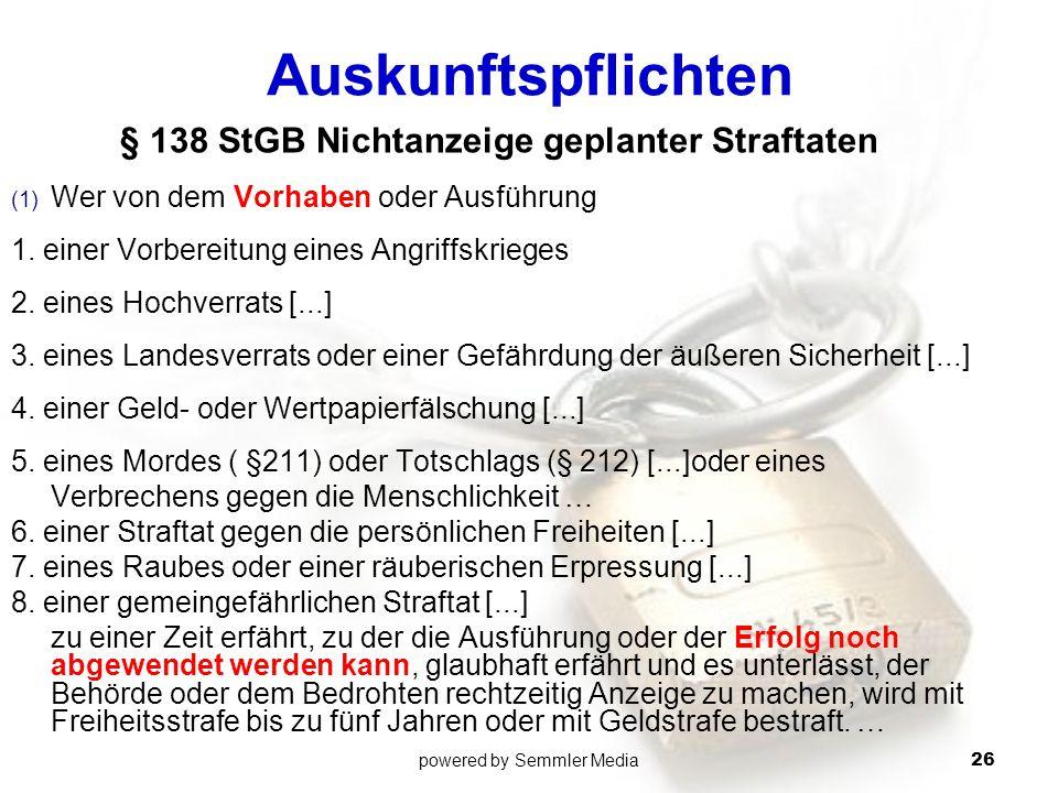 § 138 StGB Nichtanzeige geplanter Straftaten