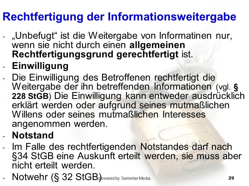 Rechtfertigung der Informationsweitergabe
