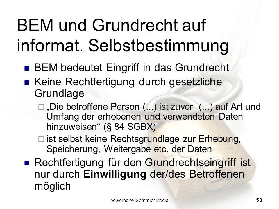 BEM und Grundrecht auf informat. Selbstbestimmung