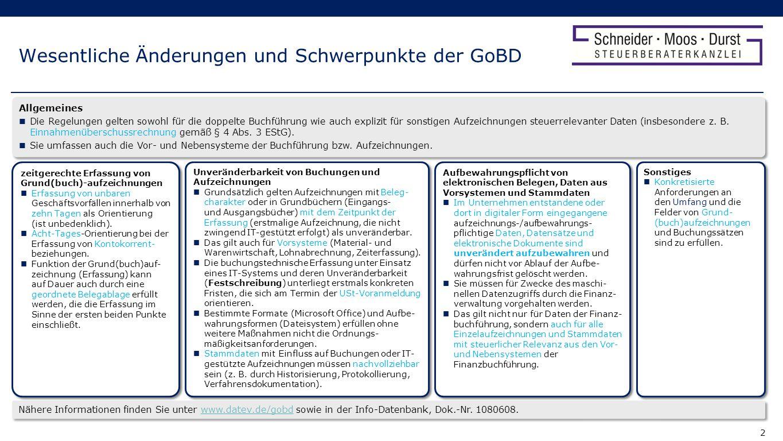 Wesentliche Änderungen und Schwerpunkte der GoBD