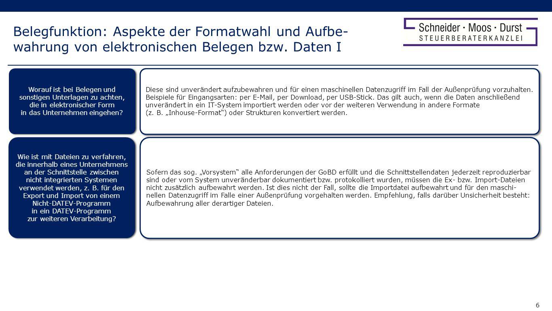 Belegfunktion: Aspekte der Formatwahl und Aufbe-wahrung von elektronischen Belegen bzw. Daten I