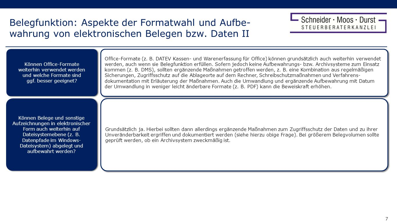 Belegfunktion: Aspekte der Formatwahl und Aufbe-wahrung von elektronischen Belegen bzw. Daten II