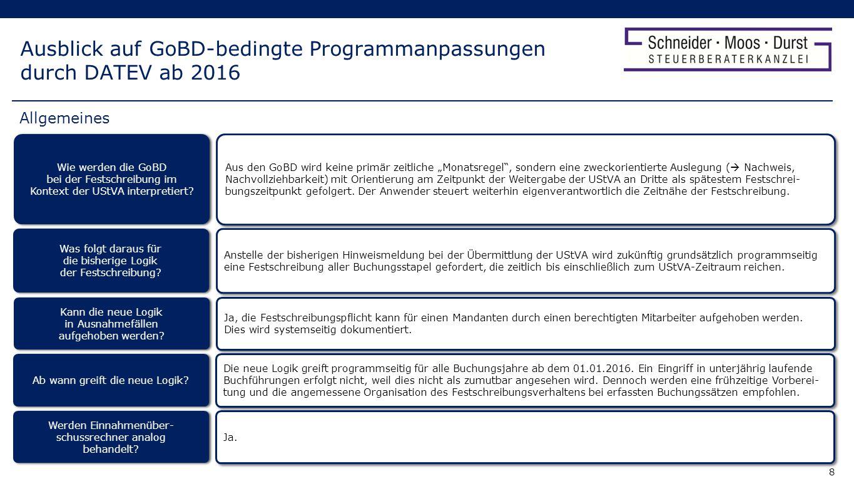 Ausblick auf GoBD-bedingte Programmanpassungen durch DATEV ab 2016