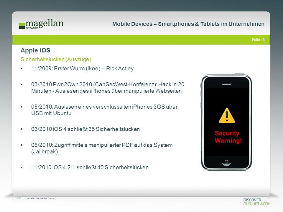 Apple iOS Sicherheitslücken (Auszüge)